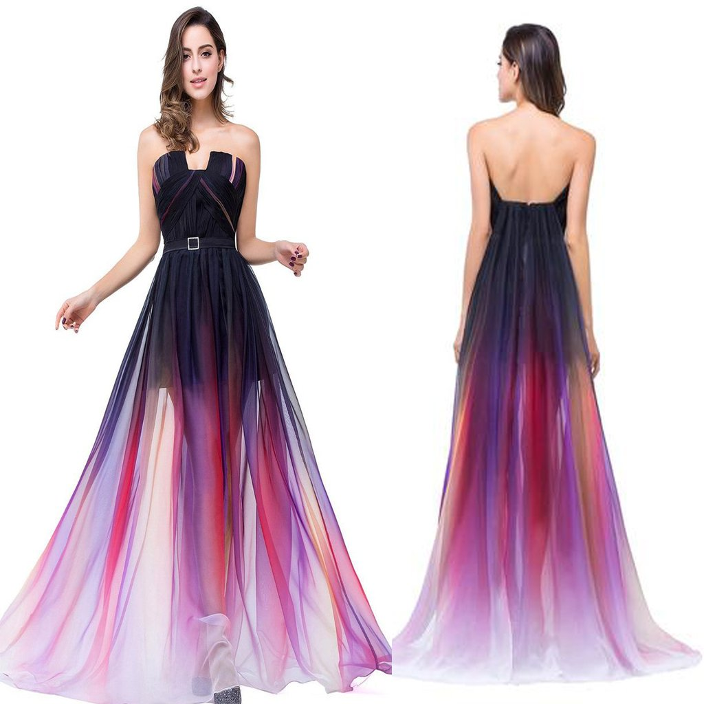 2019 New Arrival Open Back Long Gradient Chiffon Modest Prom Dresses, Evening Party Dresses,PDY0265
