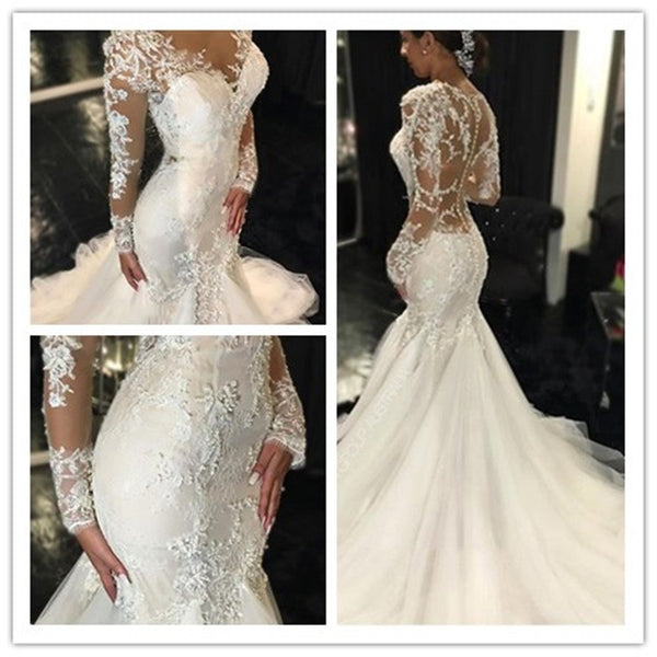 2019 Trumpet Appliques Mermaid Wedding Dress with Long Sleeve Wedding Party Dresses,  Bridal Gown, WDY0155