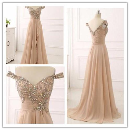 2019  A-line off shoulder chiffon long elegant  Prom Dresses, Fashion Gown,PDY0209