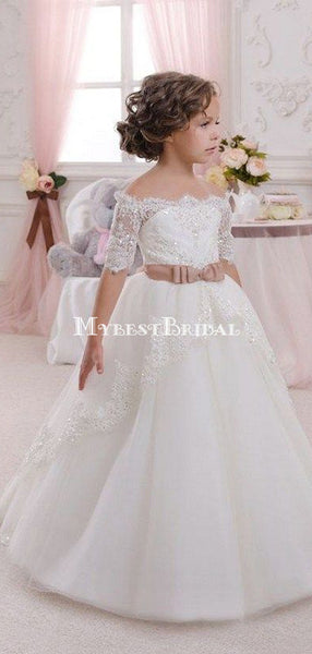 2019 New Lovely Flower Girl Dresses For Weddings Off Shoulder Short Sleeve Ball Gown Formal Custom First Communion Dress Child Party Gowns,FGY0149