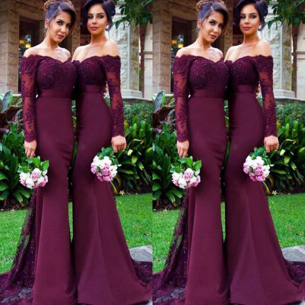 Comfortable Long Sleeve Burgundy Mermaid Long Sleeves Lace off  Shoulder Sexy Bridesmaid Dresses,WGY0145