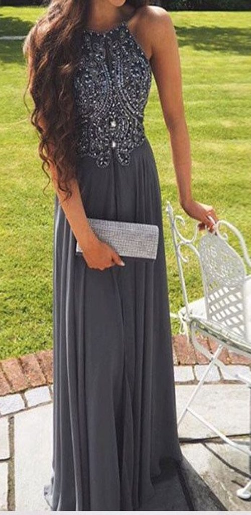 Hot Selling A-Line Prom Dress,Halter Gray Backless Prom Gown,Long Beading Prom Dress,Gray Evening Dress , PDY0180