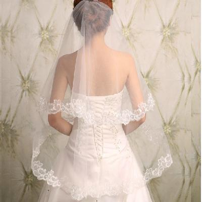 Stunning Short Double layer Lace Applique Wedding Veil For Wedding Party, WV0105