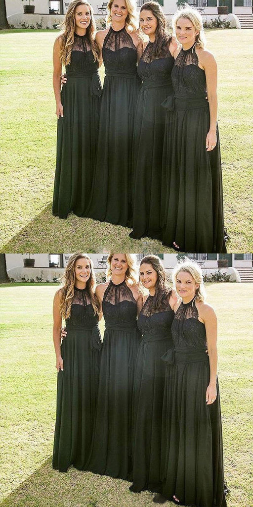 Cheap High Neck Black A-line Lace Floor-Length Long Bridesmaid Dresses,Wedding Party Gowns,WGY0213