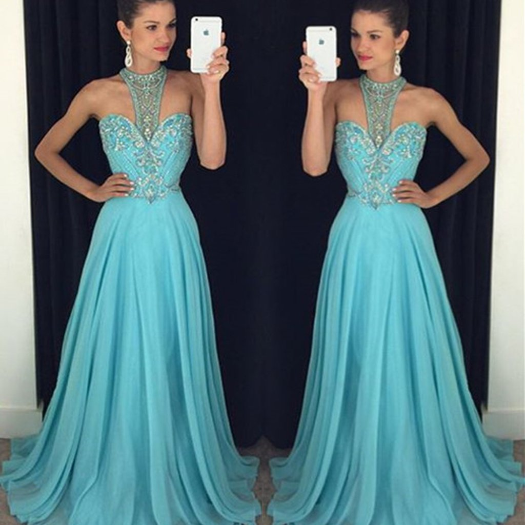 Blue High Collar Beading Long Fashion Prom Dress, Cocktail Evening Gown, Wedding Party Gowns, PDY0298