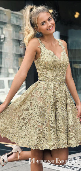 Elegant V-neck Straps All Over Lace Gold Homecoming Dresses, TYP0048