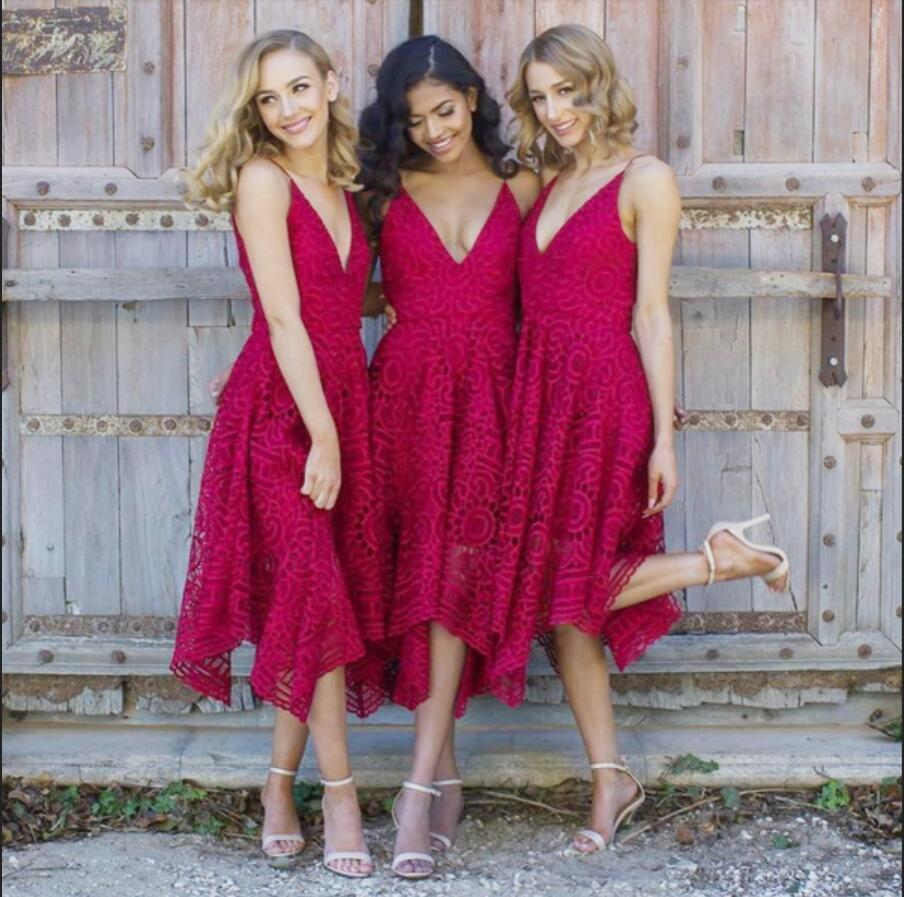 Red V Neck Affordable Short Lace Bridesmaid Dresses Online, WGY0282