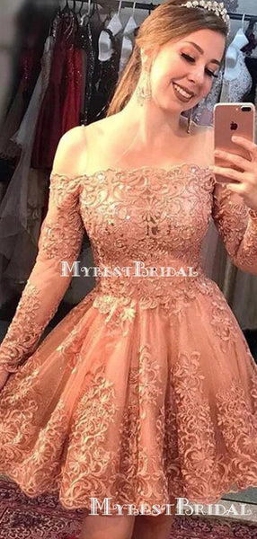 Charming Off-Shoulder Long Sleeves Lace A-line Short Cheap Homecoming Dresses, HDS0012