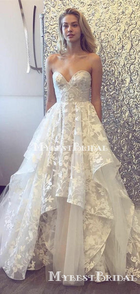 Sweetheart Ivory Lace A-line Long Cheap Wedding Dresses, WDS0028