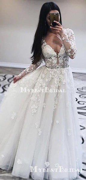 Long Sleeves V-necl Lace A-line Long Cheap Wedding Dresses, WDS0032