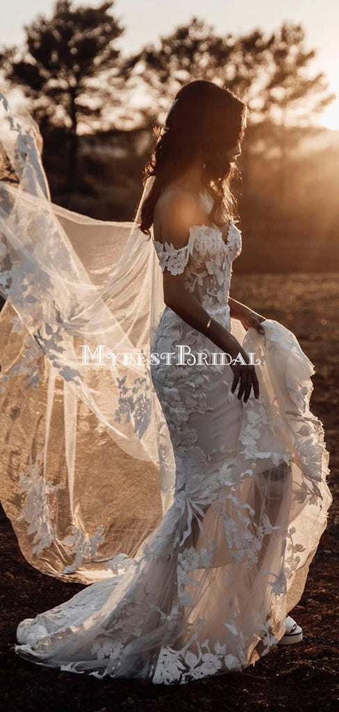 Romantic Off-The Shoulder Lace Mermaid Long Cheap Wedding Dresses, WDS0042