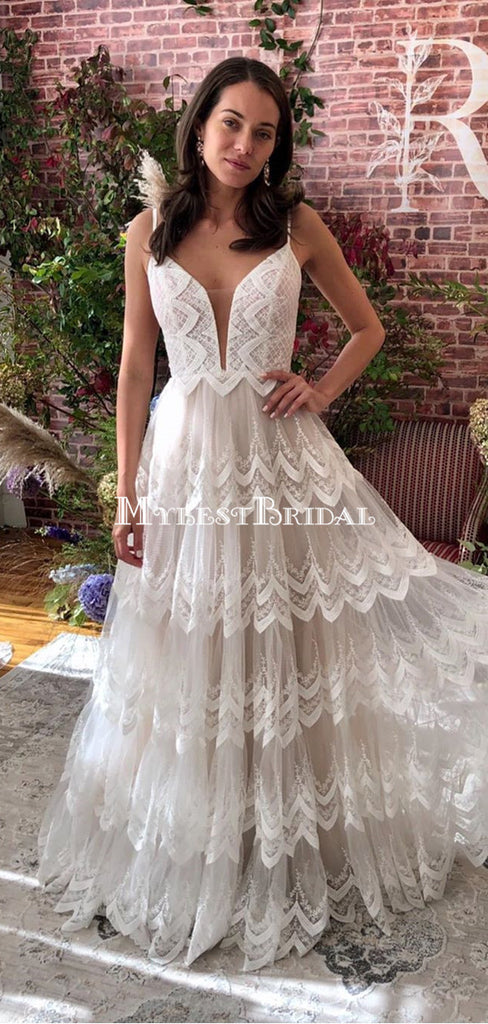 New Arrival Sapghetti Strap Lace A-line Long Cheap Wedding Dresses, WDS0057
