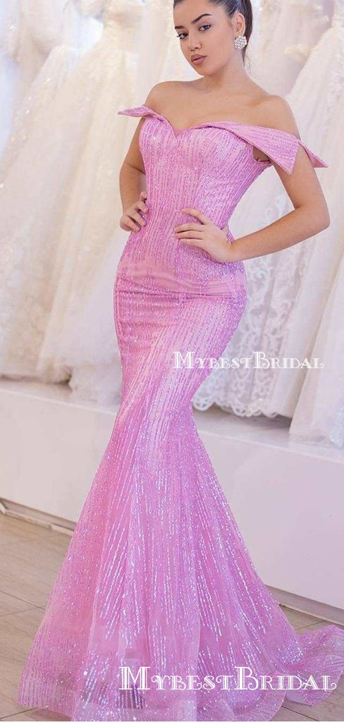 Off-The-Shoulder Pink Sequin Sleeveless Sparkly Charming Long Cheap Mermaid Evening Prom Dresses, TYP0126