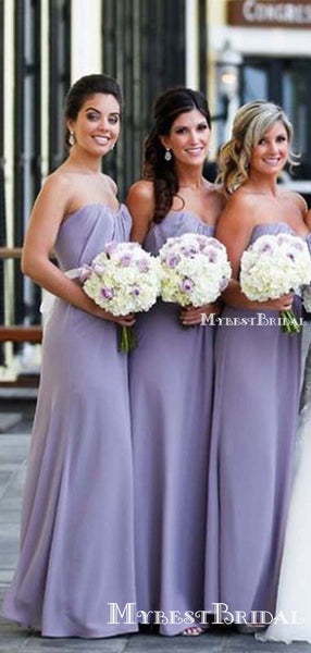 New Arrival Sweetheart Levander Chiffon A-line Long Cheap Bridesmaid Dresses, BDS0067