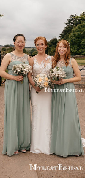 Charming Scoop Neckline Sleeveless A-line Chiffon Long Cheap Bridesmaid Dresses With Beads, BDS0003