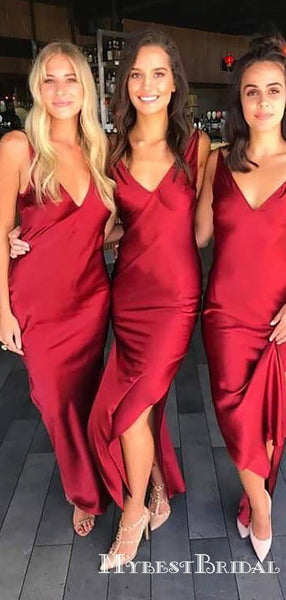 Simple Charming Red V Neck Sleeveless Side Slit Satin Long Cheap Bridesmaid Dresses, TYP0071