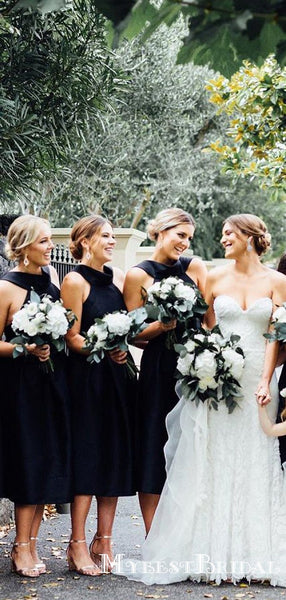Charming Cute Black Halter Sleeveless A Line Short Satin Cheap Bridesmaid Dresses, TYP0079
