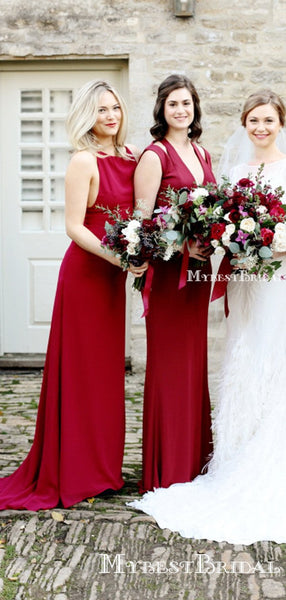 Mismatched Charming Red Satin Long Cheap Mermaid Bridesmaid Dresses, BDS0011