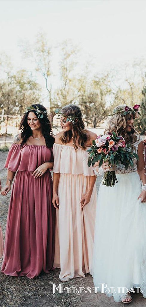 Newest Simple Charming Off-Shoulder Chiffon Long Cheap Bridesmaid Dresses, TYP0078