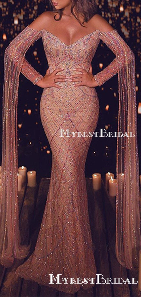 Gegorus Sparkly Sequin Off-The-Shoulder Long Sleeves Mermaid Long Cheap Elegant Prom Dresses, TYP0138