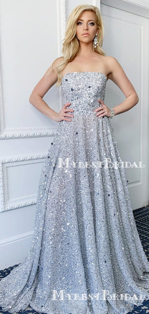 New Arrival Sparkly Sequin Strapless Sleeveless A-line Long Cheap Formal Evening Prom Dresses, TYP0140