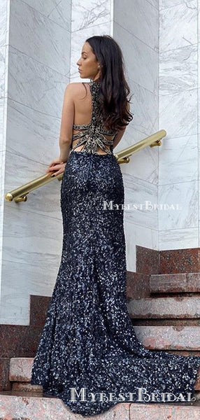 Sparkly Navy Blue Sequin Round Neck Mermaid Long Cheap Prom Dresses, PDS0069