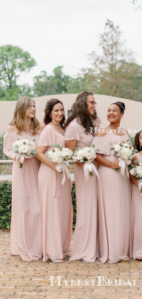 Mismatched Charming Simple Pink Chiffon A-line Long Cheap Floor-Length Bridesmaid Dresses, BDS0031