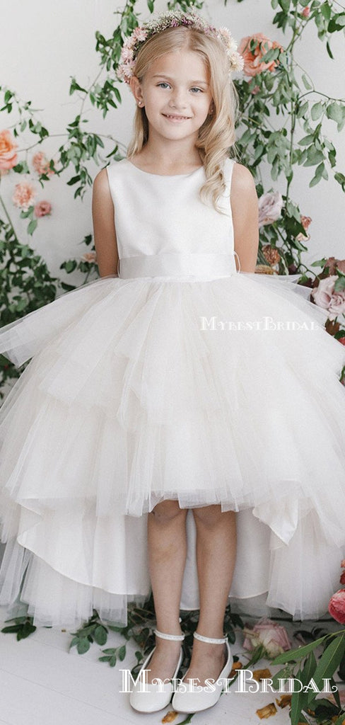 Pouplar Round Neck Ivory Tulle High Low A-line Long Cheap Flower Girl Dresses, FGS0008