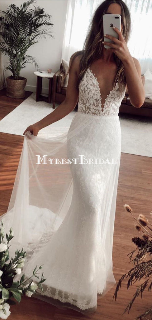 Charming Spaghetti Strap V-neck Lace Mermaid Long Cheap Wedding Dresses, WDS0059