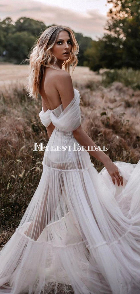 Off-The-Shoulder Tulle A-line Long Cheap Wedding Dresses, WDS0058