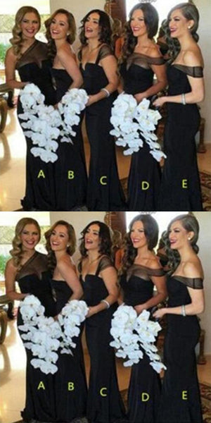 Mismatched Different Styles Black Tulle Bridesmaid Dresses,Cheap Bridesmaid Dresses,WGY0357