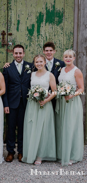 Charming Elegant Round Neck Sleeveless Mint Chiffon Long Cheap Wedding Party Bridesmaid Dresses, BDS0004