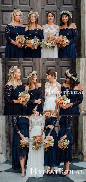Charming Off-The-Shoulder Long Sleeves Mismatched Navy Blue Chiffon Long Cheap Bridesmaid Dresses, BDS0010