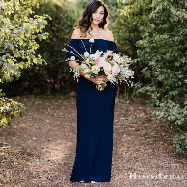 Simple Charming Navy Blue Off-Shoulder Sleeveless Chiffon Long Cheap Bridesmaid Dresses, TYP0072