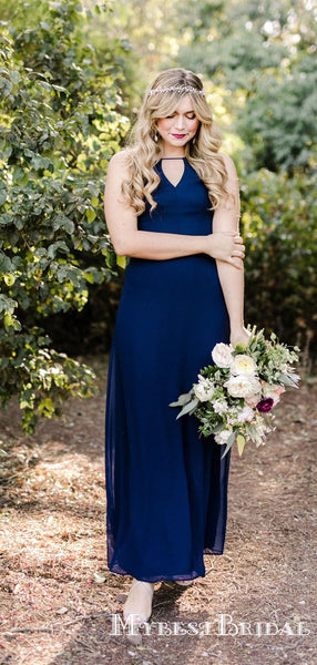 Simple Charming Navy Blue Hlater Sleeveless Chiffon Long Cheap Bridesmaid Dresses, TYP0073