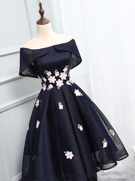 Navy Off Shoulder Simple Cheap Short Homecoming Dresses 2018, BDY0307