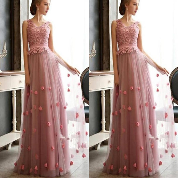 Pretty Long Hot Pink V-neck Tulle For Wedding Party With Appliques ,Bridesmaid Dresses,WGY0142