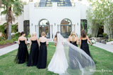Sweetheart Black Tulle A-line Long Cheap Bridesmaid Dresses, BDS0089