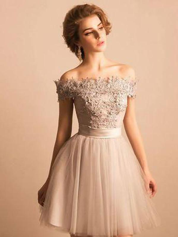 Cheap Lace Beaded Off Shoulder Cute Homecoming Dresses, BDY0194