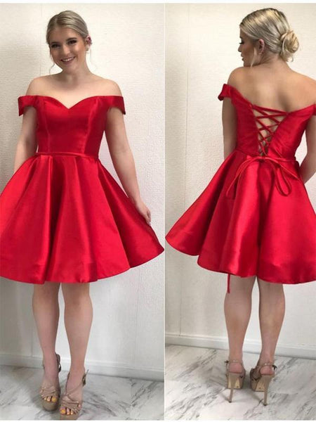 6fb37861707c Simple Off Shoulder Red Short Cheap Homecoming Dresses Online ...