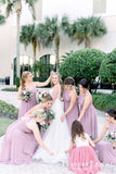 Mismatched Dusty Purple Chiffon A-line Long Cheap Bridesmaid Dresses, BDS0090