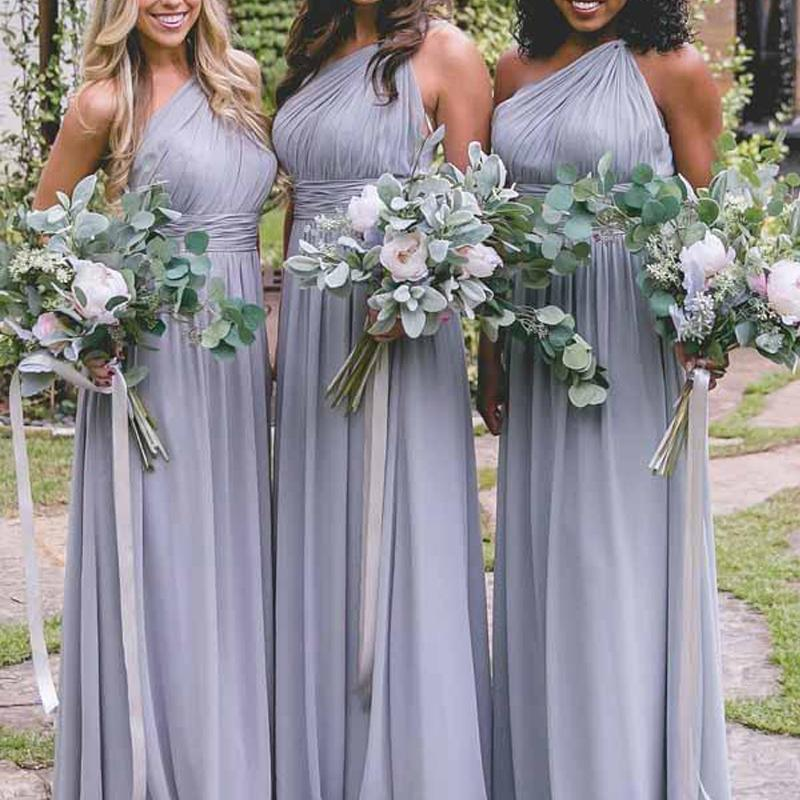 One Shoulder Dusty Blue Long Chiffon Cheap Bridesmaid Dresses Online, WGY0304