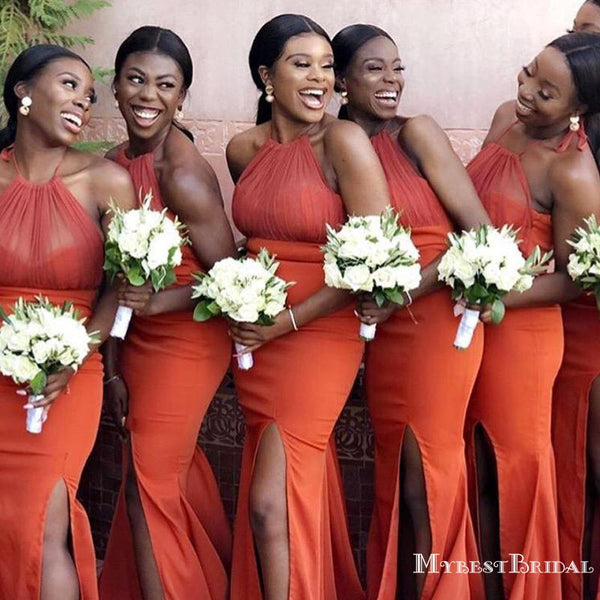 Sexy Halter Slit Mermaid Long African Style Cheap Bridesmaid Dresses, TYP0003