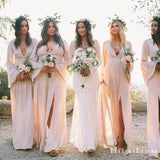 Pink V Neck Long Sleeves Side Slit Chiffon Cheap Bridesmaid Dresses, TYP0008