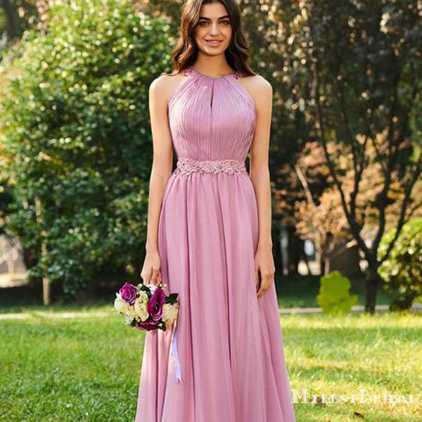 Pink Sleeveless Backless A Line Ruffles Chiffon Bridesmaid Dresses With Lace, TYP0005