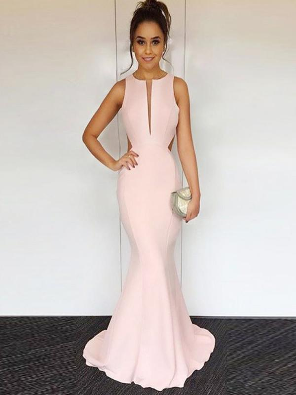 Blush Pink Prom Dresses, Mermaid Prom Dresses, Long Prom Dresses, Cheap Prom Dresses, BG0406