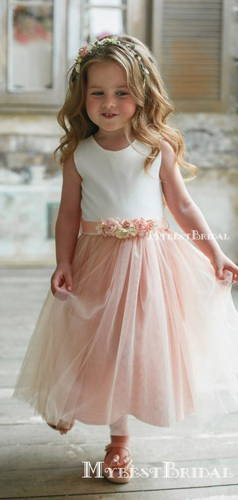 Cute Round Neck Pink Tulle A-line Long Cheap Flower Girl Dresses, FGS0019