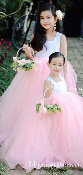 Cute Square Neckline Pink Tulle Long Cheap Flower Girl Dresses, FGS0001