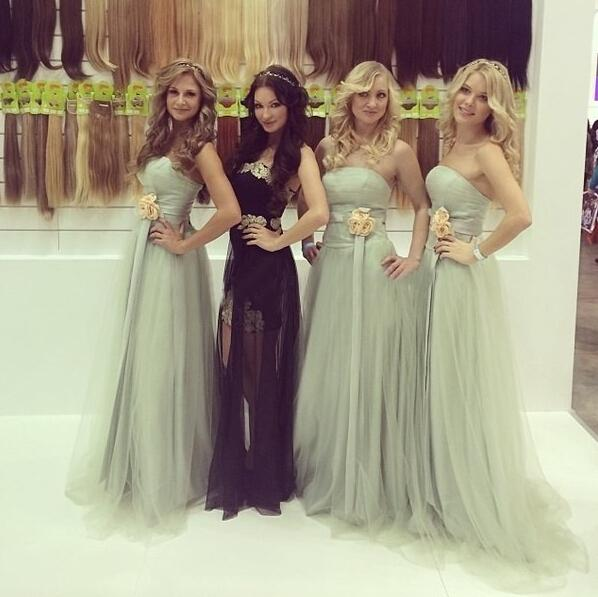 Stylish A-Line Straight Across Light Grey Long Tulle Bridesmaid Dress with Flowers ,Cheap Bridesmaid Dresses, WGY0122