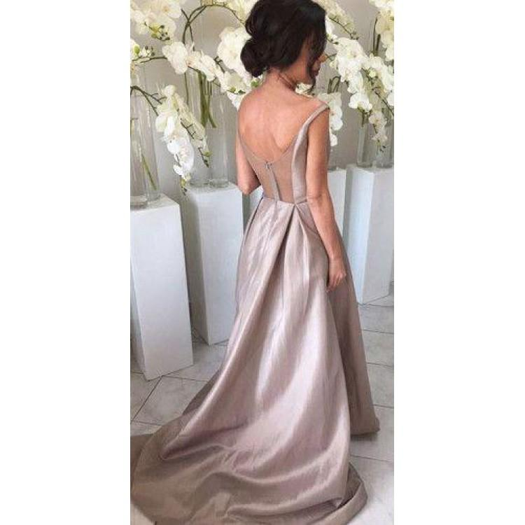 Luscious Sleeveless Silver Long A Line Taffeta Bridesmaid Dresses,Bridesmaid Gown ,WGY0146